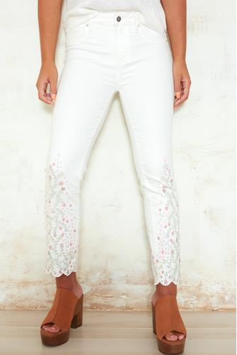 Candace Embroidered White Jean WHITE