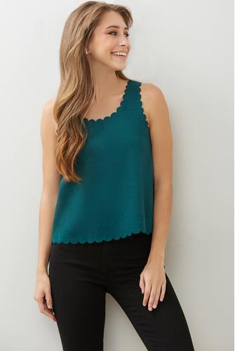 Suede Scallop Tank Top GREEN