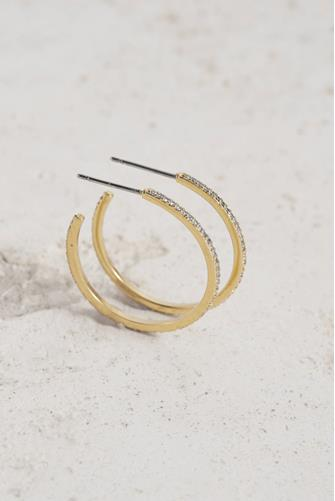 SHIMMER SMALL HOOPS CLEAR