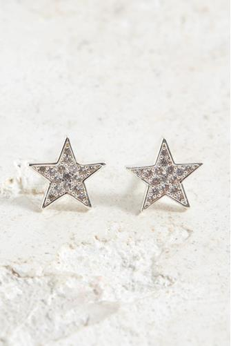 Silver Super Star Shimmer Stud Earrings SILVER