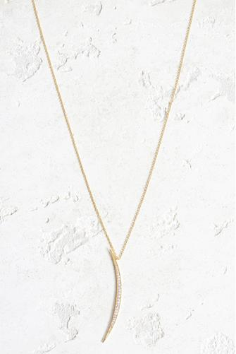 Gold Crescent Pendant Necklace GOLD