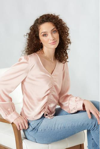 Pink Ruched Front Blouse PINK