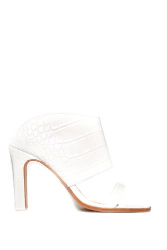 42 GOLD White Croc Linx Sandal WHITE