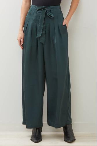 Pleated Tie Wide Leg Pant GREEN