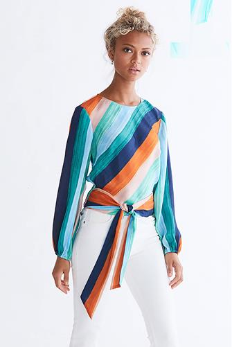 Sunset Skies Stripe Tie Front Blouse MULTI