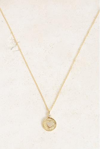 Madison Heart Coin Necklace CLEAR