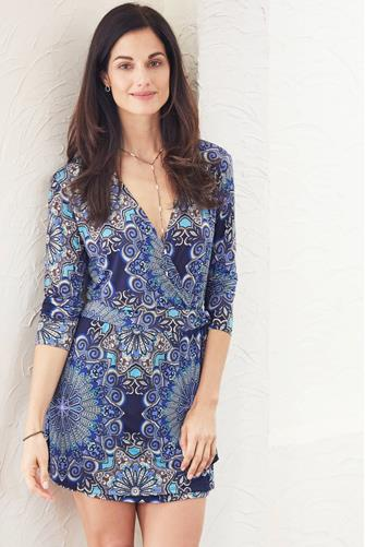 Medallion Faux Wrap Mini Dress MULTI