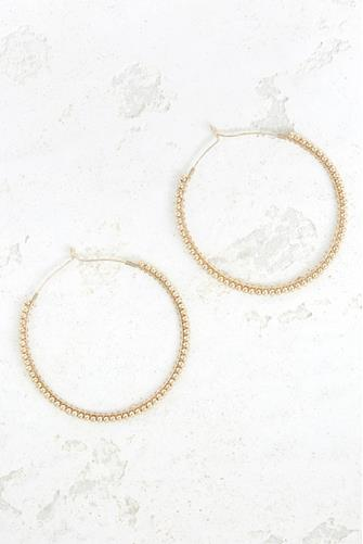LARGE GOLD BEADED HOOP GOLD