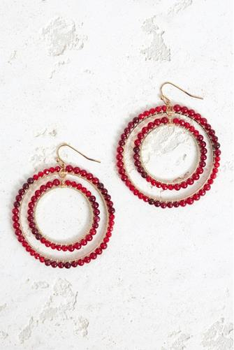 DOUBLE OPEN CIRCLE BEADED DROP RED