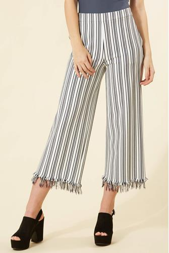 Striped Fringe Wide Leg Pant WHITE MULTI -