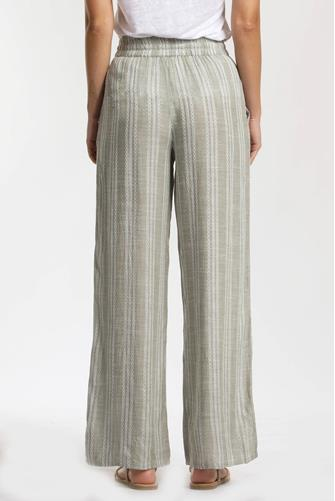 Geometric Stripe Wide Leg Pant GREEN