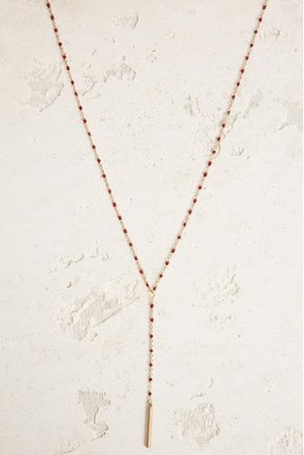 Red Enamel Chain Y Necklace RED