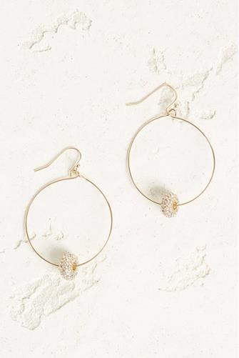 Open Circle Drop Crystal Studded Disc Earrings CLEAR