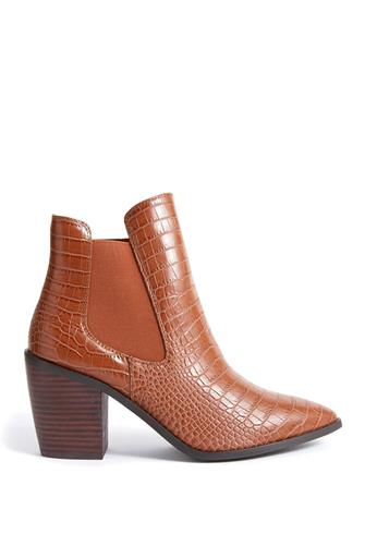 Brown Croco Bootie BROWN