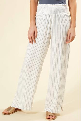 SMOCKED GAUZE STRIPE WIDE LEG WHITE