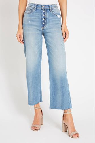 The Mikey Hi Rise Wide Leg Crop Jean in Two For The Road MEDIUM-DENIM