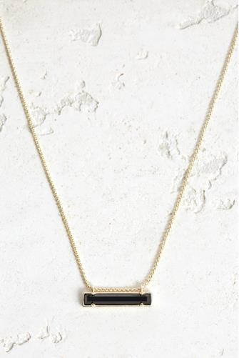 Black Opaque Glass Leanor Necklace BLACK