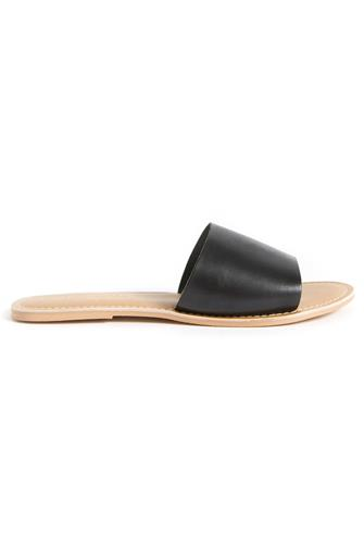 Black Leather Cabana Slide Sandal BLACK