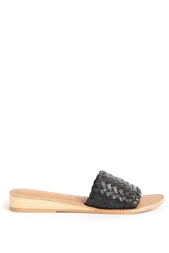 Black Pipeline Woven Wedge Slide Sandal BLACK