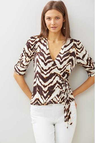 Hadley Stripe Wrap Blouse BLACK-MULTI--