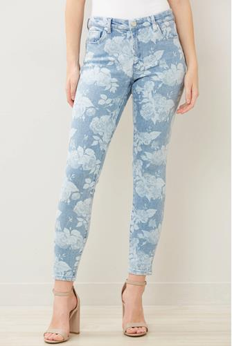 The Bond Mid Rise Skinny Jean in Bliss Field MULTI