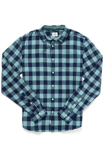 Marine Layer Double Cloth Button Down Shirt BLUE-MULTI--