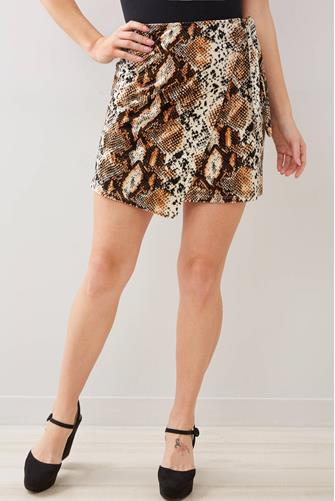 Snake Velvet Wrap Mini Skirt MULTI