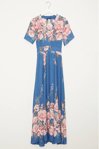 Floral Border Plunge V Maxi Dress MULTI