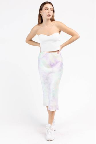 Pastel Tie Dye Midi Skirt MULTI