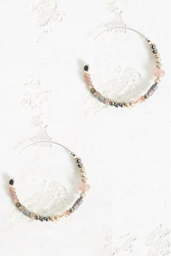 Large Multi Bead Hoop Earrings MULTI