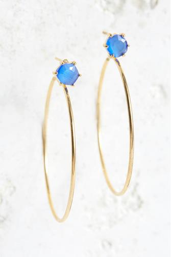 Front Facing Stone Medium Hoop Earrings ROYAL BLUE