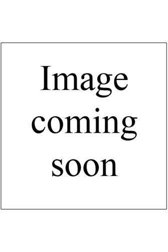 Stone Half Circle Hoop Earrings PEACH