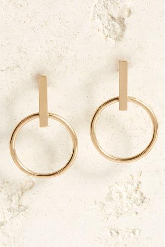 Bar Open Circle Drop Earrings GOLD