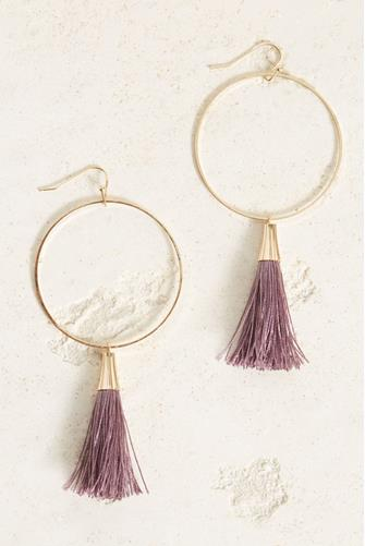 Lilac Tassel Open Circle Drop Earrings LILAC