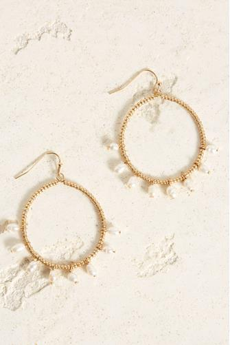 Pearl Beaded Open Circle Drop Earrings PEARL