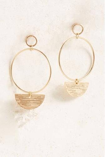 Hammered Half Circle Open Drop Earrings GOLD