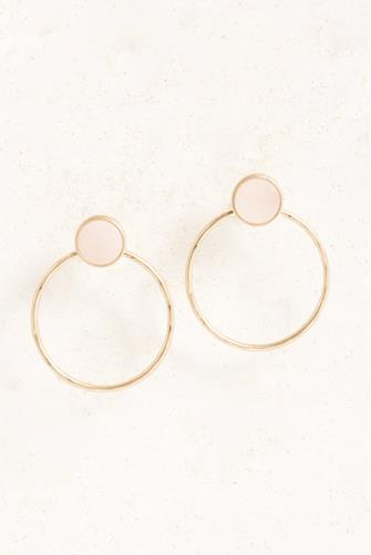 Rose Stone Front Facing Open Circle Drop Earrings ROSE