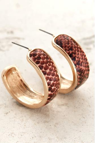 SMALL THICK COLORED SNAKE HOOP BURGUNDY