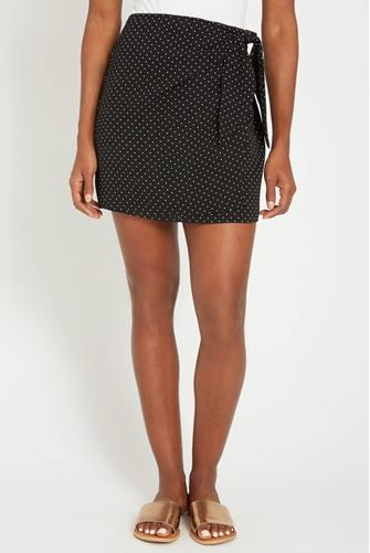 Polka Dot Wrap Mini Skirt BLACK-MULTI--