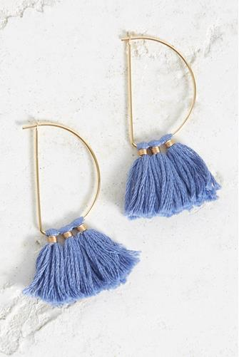 Half Circle Periwinkle Fringe Tassel Earrings PERIWINKLE