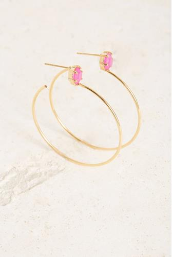 Pink Stone Hoop Earrings PINK