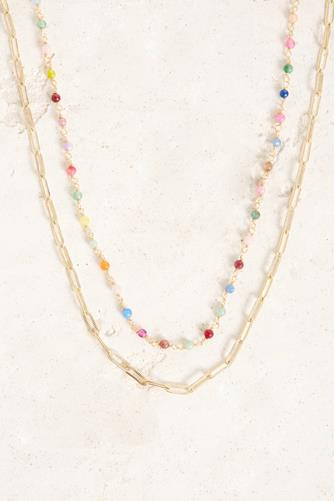 Multi Beaded Chain Link Necklace MULTI