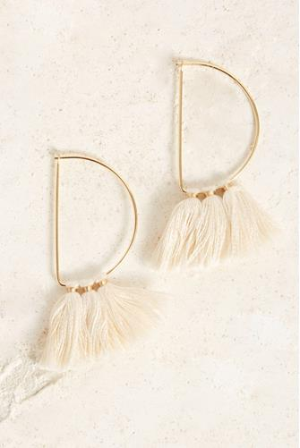 Half Circle Ivory Fringe Tassel Earrings IVORY