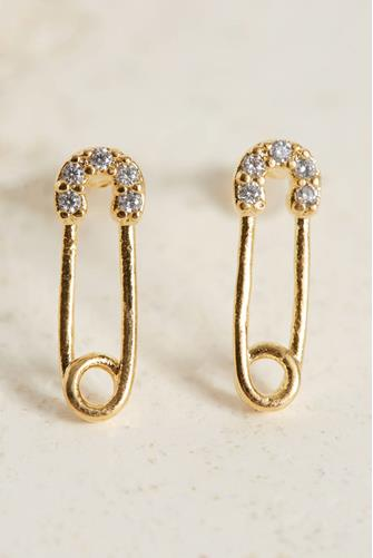 Mini Cubic Zirconia Safety Pin Stud Earrings GOLD