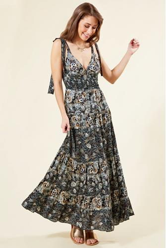 Black Let's Smock About It Maxi Dress BLACK-MULTI--