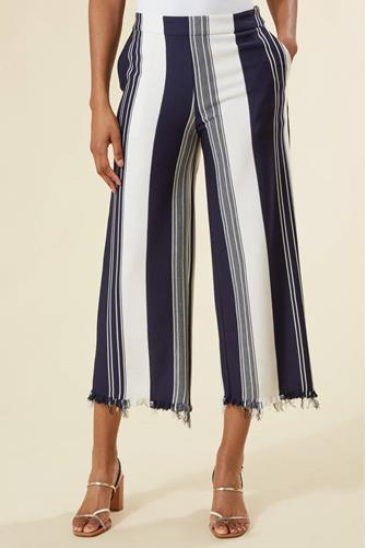 Stripe Frayed Hem Wide Leg Pant NAVY