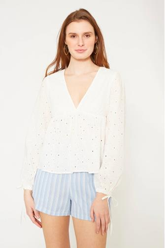 Eyelet Blouse WHITE