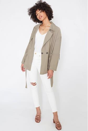 Collared Belted Wrap Coat OLIVE