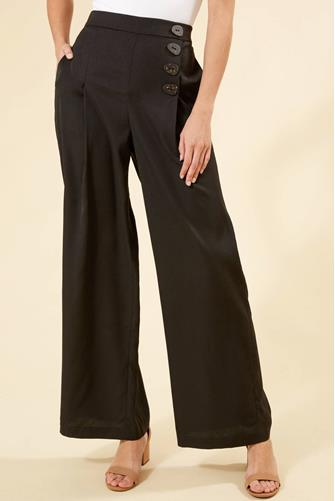 Button Wide Leg Pant BLACK