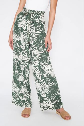 OLIVE TROPICAL FLORAL WIDE LEG OLIVE